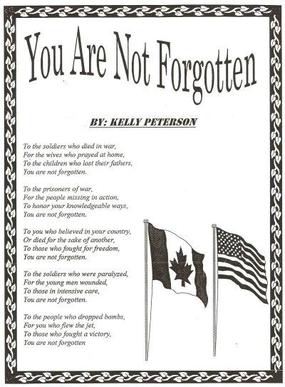 You Are Not Forgotten - Poem by Kelly Peterson